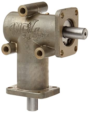 "Andantex R3000 Anglgear Right Angle Bevel Gear Drive, Universal Mounting, Single Output Shaft, 2 Flanges, Inch, 3/8"" Shaft Diameter, 1:1 Ratio, .34 Hp at 1750rpm"