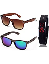BROWN WAYFARER SUNGLASSES AND WAYFARER BLUE MERCURY SUNGLASSES WITH TPU BAND RED LED DIGITAL BLACK DIAL UNISEX...