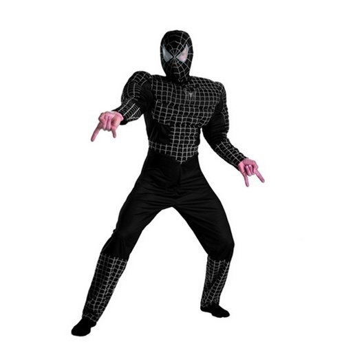 Deluxe Adult Black Muscle Chest Spider-man Costume