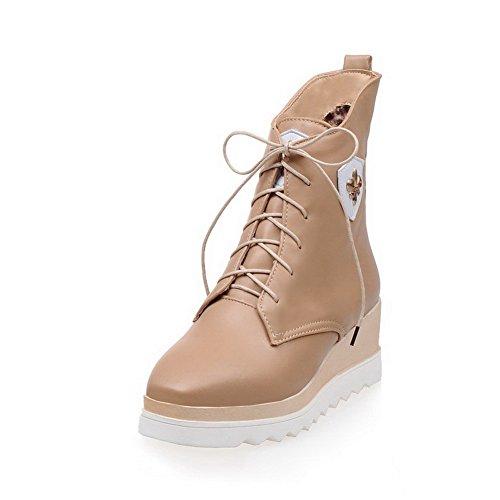 AalarDom Donna Punta Quedrata Tacco Medio Media Altezza Puro Stivali con Metallo Pezzo, Albicocca, 39