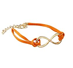 Aaishwarya Funky Orange Metal Infinity Leather Wrap Bracelet For Men & Women