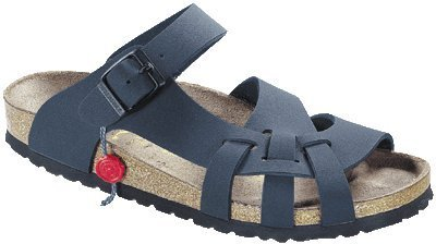 Cheap Birkenstock Pisa Womens Sandals Soft Footbed Birko-Flor, Navy, With A Regular Insole (B009AG7LOI)