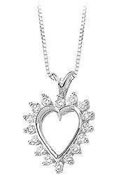 14K Yellow/White Gold 1/2 ct. Diamond Heart Pendant with Chain