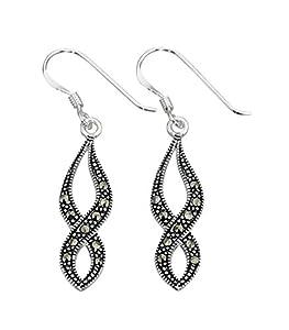 Marcasite Twist Earrings In Sterling Silver