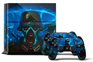 PS4 Designer Skin for Sony PlayStation 4 Console System plus Two(2) Decals for: PS4 Dualshock Controller - Zombie Trooper