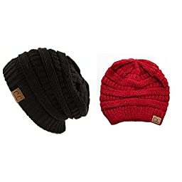 Trendy Warm Chunky Soft Stretch Cable Knit Slouchy Beanie Skully HAT20A (One Size, 2 PACK RED/BLACK)