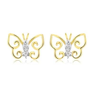 Ornami Glamour 9CT Yellow Gold Diamond Set Open Butterfly Stud Earrings