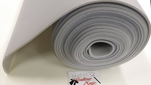"Light Gray Auto Headliner 3/16"" Foam Backing Fabric Material 72"" X 60"""