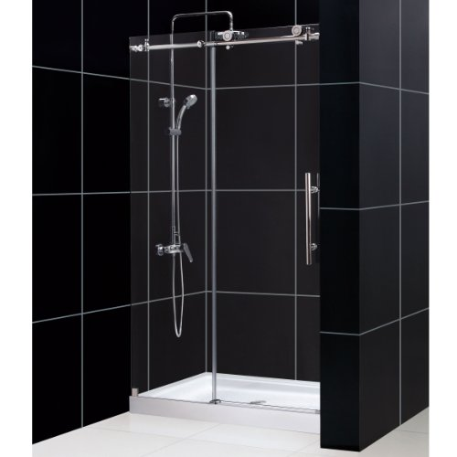 Find Cheap DreamLine Enigma-X 44 to 48 in. Fully Frameless Sliding Shower Door, Brushed Stainless St...