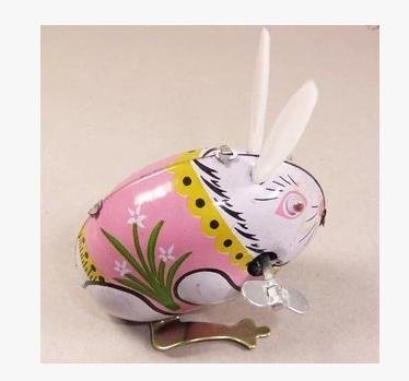 Cute Rabbit, Metal Animal Winds Up, Steel Tin Toy Collection - 1