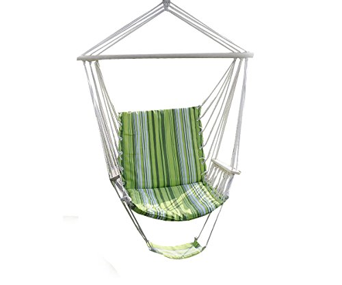 Romario Groomsmen PTO181435382597 Leisure Swing Hammock Hanging Outdoor Chair Garden Patio Yard, Patio Green Tone, Max Load:260lbs