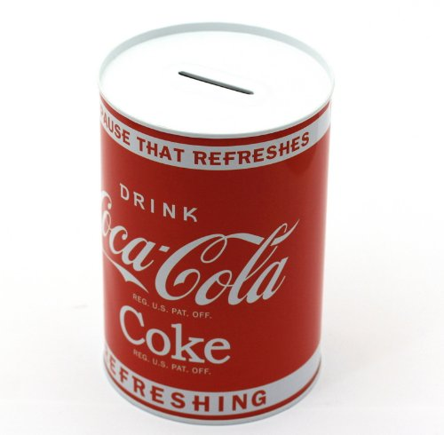 Metall-Spardose in modernem Coca-Cola Design