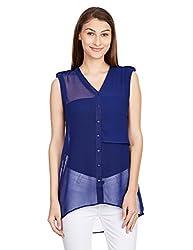 Anaphora Women's Body Blouse Shirt (56149_Navy Blue_Medium)