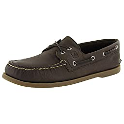 Sperry Top-Sider Men\'s A/O 2-Eye Cross Lace Boat Shoe, Dark Brown, 11 M US