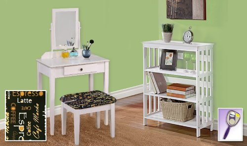 New White Finish Make Up Vanity Table With Mirror & Coffee Espresso Themed Bench And 4 Tier White Finish Book Shelf Includes Free Hand & Purse Mirror!