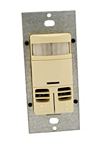 Leviton OSSMD-GDI Dual-Relay, No Neutral, Multi-Technology Wall Switch Sensor, 2400 sq. ft. Major Motion Coverage, 400 sq. ft. Minor Motion Coverage, Ivory