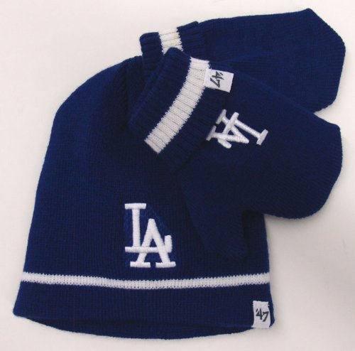 Los Angeles Dodgers Knit 47 Brand Kids Blue Mitten Gloves & Beanie at Amazon.com