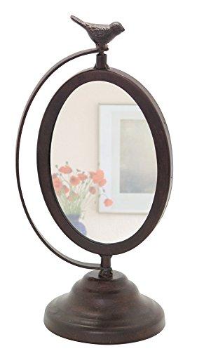 metal oval desktop vanity makeup mirror with bird dealtrend. Black Bedroom Furniture Sets. Home Design Ideas