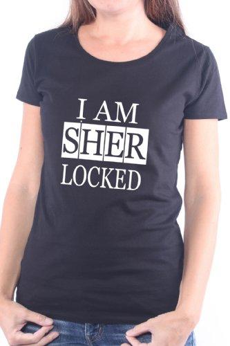 Mister Merchandise Donne Donna Camicetta T-Shirt I Am Sherlocked , Ladies Tee Taglia: M, Color: Nero