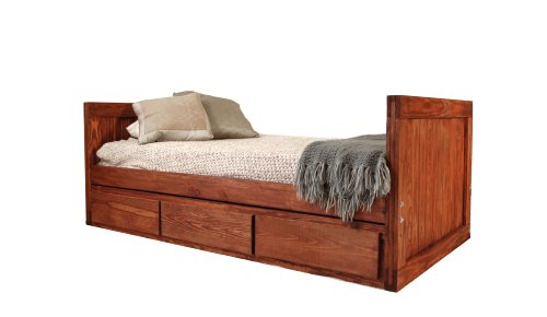 Cheap Kids Captains Bed- Twin Size – Tall Headboard and Footboard – Dark Finish – Non-Toxic – No Lacquer (B004HM2VFO)