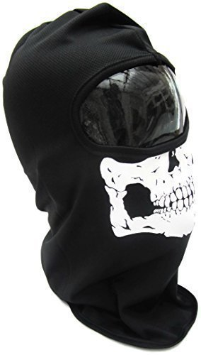 Maschera integrale con teschio, scheletro GATOR-Maschera per viso intero, motivo teschio terrificante Warrior, Maschera da teschio, scheletro moto Biker-Maschera da Paintball, Sciarpa, taglia unica, motivo: Halloween Fancy Dress Costume