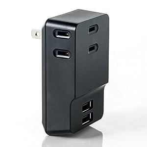 ACコンセントも 3個付けた USB充電器 700-AC016BK