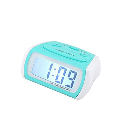 Amyove Digital LCD Basic Style Bedside Silent Alarm Clock Travel Clock Track No Green