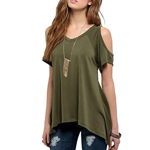 Mikey Store Sexy Women V-Neck Off Shoulder Solid Stretch T-Shirt Tops (Teen Girl Clothes Cheap compare prices)