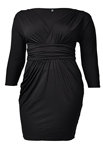 VIISHOW Womens Sexy Plus Size Deep V Neck 3/4 Sleeve Wrap Ruched Waisted Bodycon Mini Club Dress