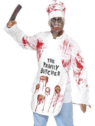 Smiffy's Men's Deadly Chef Costume with Jacket Hat Apron and Trousers