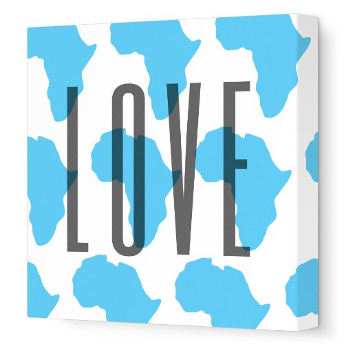 "Avalisa Stretched Canvas Nursery Wall Art, Africa Love Pattern, Blue, 12"" x 12"""