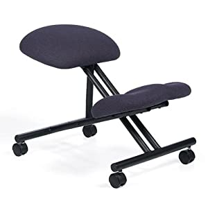 KNEELING Ergonomic Office Chair with Black Steel Frame, Dark Blue Fabric, Gas-Lift Height-Adjustment, & Casters)