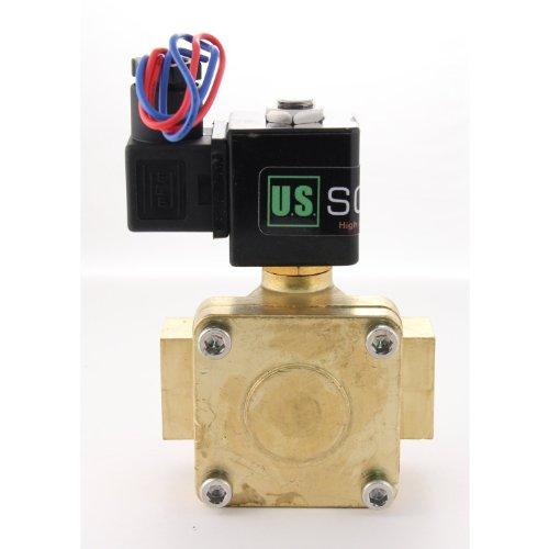 "3/4"" Brass Electric Solenoid Valve 110Vac N.C. Air Water Fuel Viton 230Psi"