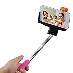 Mpow iSnap Pro 2-In-1 Self-portrait Monopod Extendable Selfie Stick with built-in Bluetooth Remote Shutter With Adjustable Grip Holder-Pink