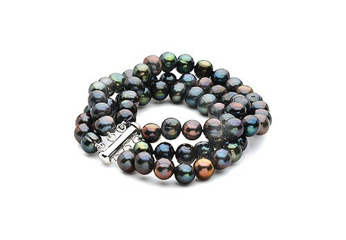 Sterling Silver and Freshwater Black Cultured Pearl Triple Strand Bracelet  7.25 Inch  89 MM