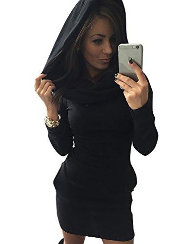 YouPue Donne Inverno Manica Lunga Casuale Casacca Felpe con cappuccio Vestito Corto Nero Asia M