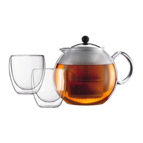 Bodum Assam Teapot Set, 51 Oz Glass Teapot with 2 Pavina 8 Oz Double Wall Glass and Stainless Steel Lid