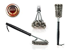 "BBQ Grill Brush By USA Kitchen Elite - Best Barbecue Grill Cleaner - 18""- 3 Stainless Steel Brushes in 1 - Perfect for Char-Broil, Weber, Porcelain and Infrared Grills - Free Handy Bag + Basting Brush from USA Kitchen Elite®"