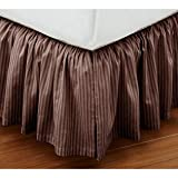 Super Soft Stripe Choclate King Size Ruffle Bed Skirt 100% Cotton