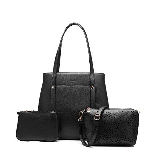Realer cuoio del progettista 3 in 1 borsa tracolla Ufficio Ladies 'borsetta frizione per Teen Girls School nero