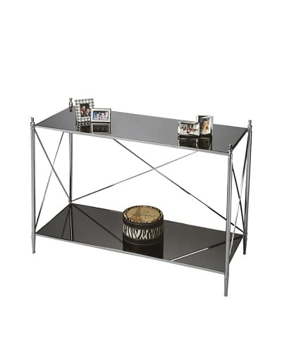 Butler Console Table, Black Glass/Chrome