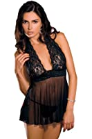 Rene Rofe Halter Chemise and G-String Two-Piece Babydoll Set
