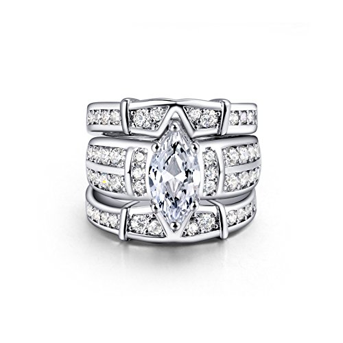 Zealmer 3-In-1 18K Rhodium Plated Marquise Cut Cubic Zirconia CZ Sapphire Crystal Bridal Rings Set 8