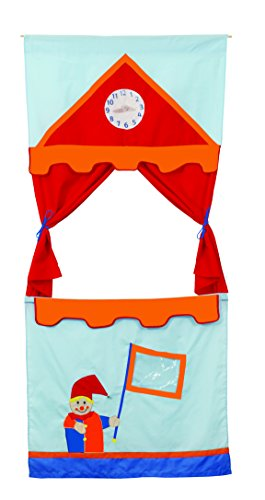 roba 6971 - Teatro de tela para marionetas para colgar en el marco de la puerta (incluye 6 títeres: Kasper, princesa, rey, policía, ladrones y lobo, 175 x 78 cm) [importado de Alemania]