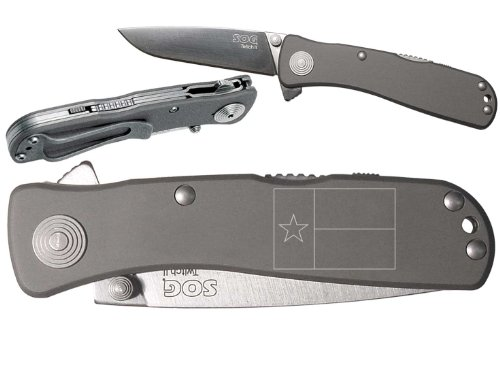 Tx Texas Flag Outline Custom Engraved Sog Twitch Ii Twi-8 Assisted Folding Pocket Knife By Ndz Performance