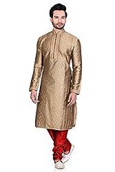 Emuze Men's Blended Fabric Kurta Pyjama (FCKS_9190_AG_40) Antiq Gold