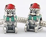 925 Sterling Silver Disney Sledding Winnie Bear Red Santa Hat Enamel Bead for Pandora, Biagi, Chamilia, Troll and More Bracelets
