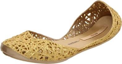 Melissa Campana Women's Zigzag Ballerina Flat,Gold Glitter,5 M US