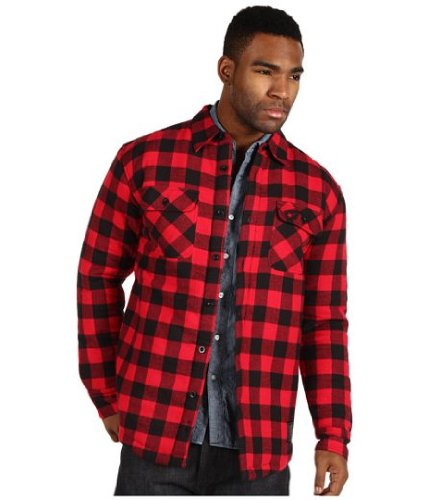 Famous Stars and Straps Classic Mens Flannel Jacket Red Black: Large