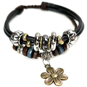 Leather Zen Bracelet with Flower Drop, Silver Beads, Adjustable (Silver Gift Box)